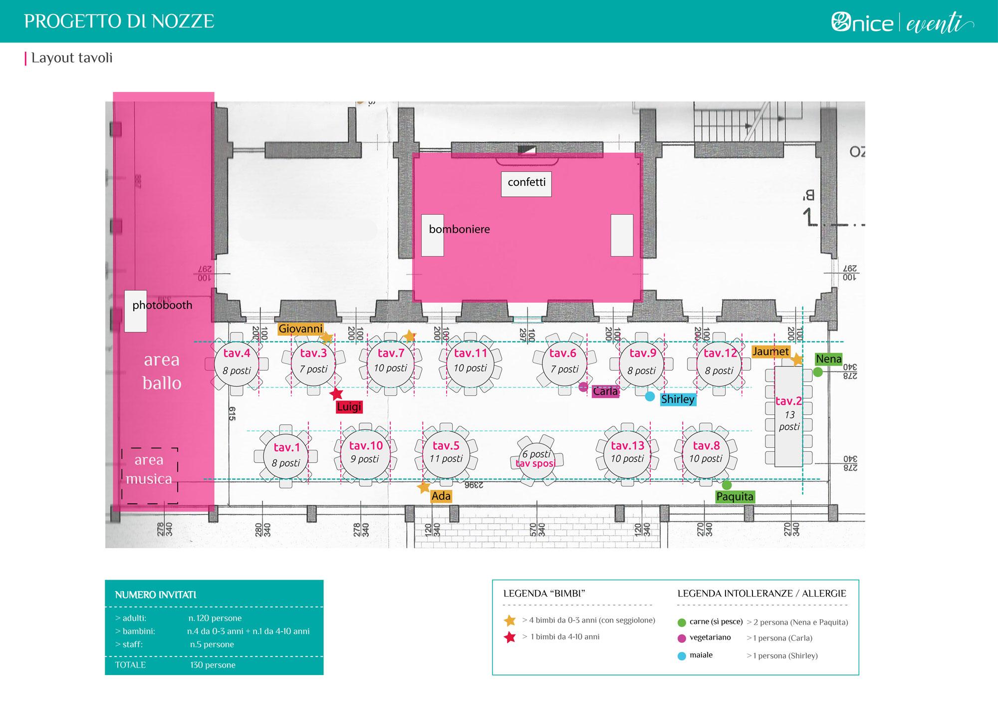 Onice Eventi - planimetria sala ricevimento di nozze con layout tavoli